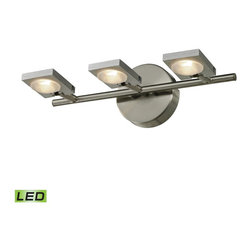 Elk Lighting - Reilly 3-Light Bath in Brushed Nickel and Brushed Aluminum - The Reilly Collection features adjustable LED technology that offers crisp illumination and versatility among sleek modern lines. The light holder is made of solid brushed aluminum while the framework is done in a complimentary brushed nickel finish.