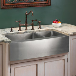 """39"""" Optimum 60/40 Offset Double-Bowl Stainless Steel Farmhouse Sink - Curved Fro - Add an elegant touch to your kitchen with a unique and versatile Optimum 60/40 Farmhouse Sink. Made from 16-grade premium stainless steel, this sink will be the centerpiece of your kitchen."""