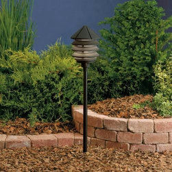 """Kichler - Kichler 15005BKT Six Groove Black Path & Spread Light 15005BKT - Textured Black finishBulb Included: Yes Collection: Six Groove Finish: Textured Black Height: 9.5"""" Primary Number of Lights: 1 Primary Wattage: 24.4 Watt Socket 1 Base: Wedge Socket 1 Max Wattage: 24 Style: Transition Switch Type: B Type: Land Path Light Voltage: 12 Volt Width: 6"""""""