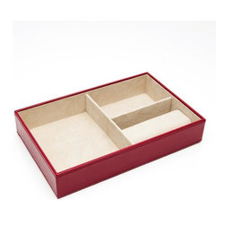 Wolf Designs - Queen's Court Deep Jewelry Tray - Red - A true Wolf Design classic. This Queen's Court deep jewelry tray from the royal collection of handcrafted jewel cases and travel accessories is made of red Saffiano leather. The assortment features soft, brushed camel LusterLoc treated interior and multiple storage compartments for rings, earrings and things.