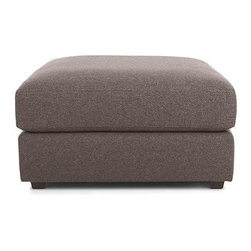 Drake Ottoman - A livable mix of family-friendliness and easy elegance with modern European roots. Upholstered in a chunky polyester basketweave, the Drake collection offers a host of deep-seated, plump, cushioned pieces for custom lounging solutions in any space.