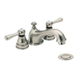 Moen - Moen T6103AN Kingsley Antique Nickel Two-Handle Low Arc Lavatory Faucet - This Kingsley Low Arc Lavatory Faucet features two lever handles for precise volume and temperature control, a unique mini-widespread installation, and a metal drain assembly. This model comes in a beautiful, Antique Nickel finish.