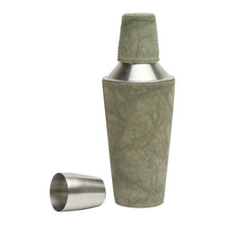 """Pigeon & Poodle - Pigeon & Poodle Lambeth Olive Cocktail Shaker - Pigeon & Poodle's Lambeth cocktail shaker tops a bar with sophisticated style. The classic drink accessory's olive green canvas cover delivers a subtly marbled appearance. 4""""D x 10""""H; Hand-dyed canvas; Variations may occur"""