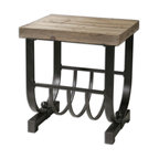 U Shape Bijan Planked Fir Top Accent Table - *Forged, Black Iron Base With Natural, Planked Fir Wood Top.