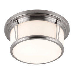 Murray Feiss - Woodward 2-lt Flushmount - The Woodward Collection of flushmounts features a drum-inspired, deep and straight-sided shade with metal cross-bar and rim detail. Available in three sizes and four finishes.