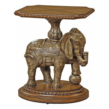 Ambella Home - Exotic Fantasy Accent Table - Revered in some cultures for its wisdom, strength and steadfastness, the elephant is also believed to carry the world upon its back — not just this hand-tooled leather tabletop. Bring a dimension of whimsy and delight to your decor with this ornately carved elephant accent table to your foyer or living area.