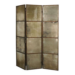 Uttermost Avidan 3 Panel Screen Mirror - Heavily antiqued gold with antique mirrors. This mirrored screen features a metal frame finished in heavily antiqued gold. Mirrors are antiqued.