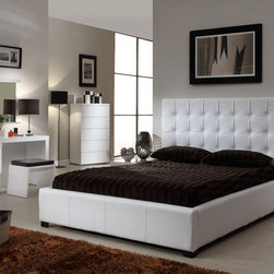 Itaian Quality Leather Designer Furniture Collecion with Extra Storage - White athens modern clean lines bedroom with storage space bed. This modern Athens five pieces white Italian design bed set will surely accentuate any contemporary bedroom!