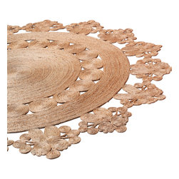 Armadillo & Co - Hand Woven Doily Crochet Round Hemp Rug, 7' Diameter - Hand crafted by individual artisans in India using sustainable, natural fibers.