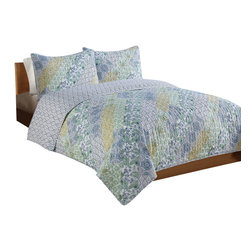 Pem America - Purple Yellow Patchwork Full / Queen Quilt with 2 Shams - Bright floral prints in purple, yellow and green in a non traditional diagonal patchwork make this fun quilt the perfect addition to a colorful room. Includes 1 full / queen size quilt  86s86 inches and 2 pillow shams 20x26 inches 100% microfiber polyester face and reverse.  Filled with 50% cotton / 50% polyester. Machine washable.