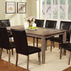 "9 PC Wire Brushed Oak Wood Dining Set 18"" Leaf Parson Chairs Leather - Refreshingly simple, this table with a natural wood grain surface offers a unique look for transitional homes when paired with parson leatherette chairs. The chair legs share the same wire brushed oak finish as the table. Available in counter height."
