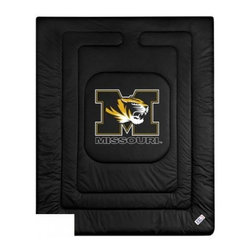 Sports Coverage - Missouri U Tigers Bedding - NCAA Comforter - Full - Show your team spirit with this great looking officially licensed University of Missouri Tigers comforter. This Tigers comforter is made from 100% Polyester Jersey Mesh - just like what the players wear. The fill is 100% Polyester batting for warmth and comfort. Featuring authentic Missouri Tigers team colors, each comforter has the authentic University Missouri Tigers logo screen printed in the center. Soft but durable.  Machine washable in cold water. Tumble dry in low heat. Covers are 100% Polyester Jersey top side and Poly/Cotton bottom side. Each comforter has the team logo centered on solid background in team colors. 5.5 oz. Bonded polyester batts. Looks and feels like a real jersey!