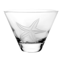 Rolf Glass - Starfish Martini Tumbler Set of 4 - Our Starfish design offers a different seascape pattern on every shape. Seagrass, starfish, bubbles, a lone fish, giving each glass a distinctive charm.  Made in USA.