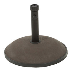 Great Deal Furniture - Hamilton Round Brown Concrete Umbrella Base - The Hamilton umbrella base ensures that your umbrella will remain securely intact with style and practicality. Built out of concrete, the 33-pound base can accommodate an umbrella as large as 9 feet. The base rod features a tightening knob to easily secure any sized umbrella pole. Place one under your dining set to provide a shady and relaxing outdoor dining experience with your favorite outdoor umbrella.