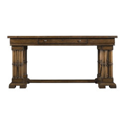 Stanley Furniture - European Farmhouse-Patron's Desk - For all their talent, ingenuity and technique, the Flemish Masters didn't earn the reputation they hold to this day on skill alone. In fact, their artistic influence is due in large part to a limited number of wealthy patrons who popularized and often directed their work. More than just backers, patrons were true enthusiasts and advocates for the arts. Often, they valued their financial support of the artists they loved as high, or even higher, as their own basic needs. Our Patrons Desk is crafted to support such lofty endeavors, complete with double banded balusters set atop an elevated block style pediment. The overscaled work surface is both wide and deep to accommodate a central check drawer. The structural support beam is both artistic and substantial enough to double as a footrest. And the entire piece is carefully joined, honed, sanded and polished to bring out the grain of the native Dutch white cedar.