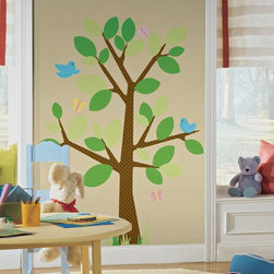 RoomMates - Dotted Tree Peel & Stick Appliques - RMK1319GM - Shop for Wall Decorations from Hayneedle.com! A whimsical room full of life and color awaits those who choose this charming collection of stickers. A single tree with large two toned leaves and loaded with vibrant animal life makes an unforgettable addition to a play room or the bedroom of young children. Certain adults may find this pretty charming too and we think that's great. With the novel adhesive formula that allows removal and easy reapplication without damaging surfaces or leaving residue there's no good reason not get a little creative with these stickers.These stickers will work on just about any surface but take care with wallpaper or some delicate surfaces. If in doubt test in an inconspicuous place prior to applying all the stickers. Also wait 10 to 15 days after painting before using stickers. Though the paint feels dry it needs adequate time to cure. As with any adhesive product these will work much better on clean surfaces free of dust and the like. Specifically they will work well on surfaces including but not limited to walls mirrors your fridge laptop covers tile glass lockers furniture and automotive surfaces.Please note this product does not ship to Pennsylvania.