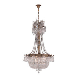 """Worldwide Lighting - Winchester 10 Light Antique Bronze Finish & Crystal Chandelier 30"""" x 50"""" Large - This stunning 4-light Chandelier only uses the best quality material and workmanship ensuring a beautiful heirloom quality piece. Featuring a cast aluminum base in Antique Bronze finish and all over golden teak (translucent champagne color) crystal embellishments made of finely cut premium grade 30% full lead crystal, this chandelier will give any room sparkle and glamour. Worldwide Lighting Corporation is a privately owned manufacturer of high quality crystal chandeliers, pendants, surface mounts, sconces and custom decorative lighting products for the residential, hospitality and commercial building markets. Our high quality crystals meet all standards of perfection, possessing lead oxide of 30% that is above industry standards and can be seen in prestigious homes, hotels, restaurants, casinos, and churches across the country. Our mission is to enhance your lighting needs with exceptional quality fixtures at a reasonable price."""