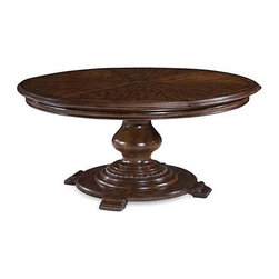 A.R.T. - A.R.T. Coronado Round Dining Table - Give your home an extra touch of refinement with this round table. The piece carries a walnut finish and features walnut veneers and radiata solids, which establish a rich and distinct appearance while the turned base creates stability. In addition, 16 leaf extends the table to 80 x 80. You'll have plenty of space to host friends and family with this pedestal dinner table.