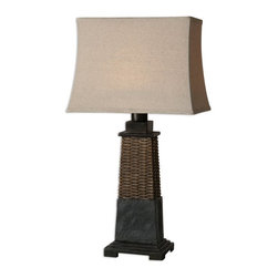 Carolyn Kinder - Carolyn Kinder Lavaca Rattan Traditional Table Lamp X-1-17462 - Distressed woven rattan feel with hand carved slate details. The rectangle, semi bell shade is a water resistant, oatmeal linen fabric. For indoor/outdoor use.