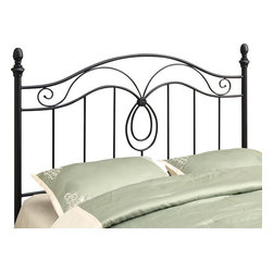 Monarch Specialties - Monarch Specialties 2622Q Queen/ Full Combo Headboard or Footboard in Black - This simple headboard/Footboard will be a beautiful addition to your bedroom. It features both curved and straight lines and a flower detail that all add visual appeal and elegance to the piece. Finished in a black colored sturdy metal, this piece can accommodate a queen or full sized bed. Use as a footboard or add the extendable legs to create a headboard. This piece will no doubt help create a fresh look in any bedroom.