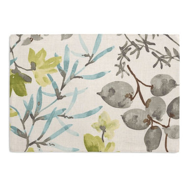Aqua & Gray Watercolor Floral Custom Placemat Set - Is your table looking sad and lonely? Give it a boost with at set of Simple Placemats. Customizable in hundreds of fabrics, you're sure to find the perfect set for daily dining or that fancy shindig. We love it in this gray, aqua & spring green watercolor floral. your room will be awash with color & class.