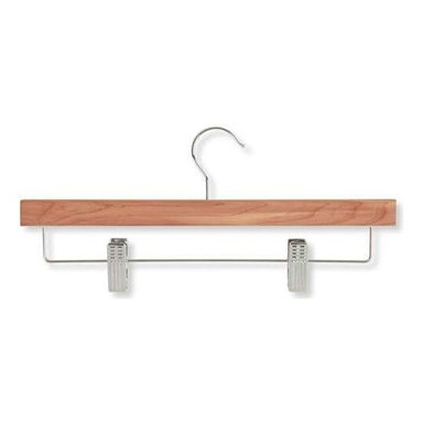 4-Pack Cedar Skirt And Pant Hanger- With Clips - Honey-Can-Do HNG-01535 Skirt/Pant Hangers With Clips, Cedar, 4-Pack. Natural cedar makes a great addition to any closet space. This straight skirt and pant hanger features sturdy, steel clips with protective grips to keep your garments securely in place and wrinkle-free. Clips are adjustable to accommodate a variety of sizes and styles. Features a 360 degree swivel rod hook to hang items easily on any closet rod, towel bar, or coordinating top hanger. A beautiful upgrade for any closet.
