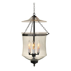 """Clear Royal Hundi Glass Bell Jar Lantern 10""""D, Nickel Silver - Royal Balti Hundi Glass Bell Jar Lantern 10"""" Diameter, Approximate 22"""" Height (Jar Height 12"""") with 3 lights. Comes in 3 Finishes- Antique Brass, Antique Bronze, Nickel Silver. Each bell jar comes with glass lid, electrification kit and 3 feet of chain and corresponding canopy."""