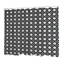 Uneekee - Uneekee Black Lattice Shower Curtain - Your shower will start singing to you and thanking you for such a glorious burst of design as you start your day!  Full printing on the front and white on the back.  Buttonhole openings for shower rings.