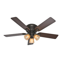 "Hunter Fan - Hunter Fan 52"" Reinert - The 52 inches Premier Bronze Reinert ceiling fan by Hunter is perfect for large rooms with low ceilings. With it's classic design and whisper quiet operation"
