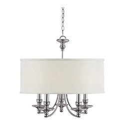 "Lamps Plus - Contemporary Midtown Collection Polished Nickel 25"" Wide Chandelier - A modern shade with traditional detailing on this five light chandelier makes it a conversation piece in your home.  The polished nickel accents gleam beautifully in the light while the shade emits a gorgeous soft glow. It looks great in living dining or entry areas. Polished nickel accents. Takes five 60 watt bulbs (not included). Includes 10ft chain and 15ft wire. Canopy is 5"" wide. 25"" wide. 25 3/4"" high.  Polished nickel accents.   Takes five 60 watt bulbs (not included).    Includes 10ft chain and 15ft wire.  Canopy is 5"" wide.   25"" wide.   25 3/4"" high."
