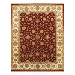 "Pasargad - Pasargad Agra Collection Traditional Hand-Knotted Silk & Wool Area Rug- 8X10 - ""The brand Pasargad is the perfect blend of class and elegance. These rugs bring traditional sophistication to your home. These rugs feature 100% Premium Wool, hand-knotted into elegant designs, perfect for your traditional decor. The varying pile heights will add a spark of interest to these rugs. Each rug has a dense, soft pile and excellent quality, to ensure that you will enjoy the look and feel of your rug for years to come."""