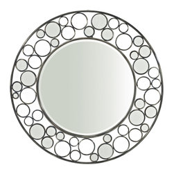 Powell - Powell Miscellaneous Accents Reflections Round Mirror in Gloss Metal - Accent any wall in your home with the beautiful reflections round mirror. The mirror has a solid mirrored center accented but an open, round designed exterior. The mirror frame has a variety of open, airy circles and mirrored circles that keep it interesting. Perfect for adding to an entry, bedroom or over a mantle or sofa.