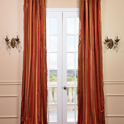 Melrose Silk Taffeta Satin Stripe Curtain - Our 100% silk drapes & curtains represent extravagant luxury at unbeatable prices. Our team of designers have worked tirelessly to find the best colors & patterns to make our selection truly the largest in the market today.