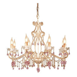 Crystorama - Crystorama Paris Flea Market Chandelier - 27W in. Champagne Multicolor - 4509-CM - Shop for Chandeliers from Hayneedle.com! Open and airy the Crystorama Paris Flea Market Chandelier - 27W in. Champagne will transform your child's bedroom into a magical palace. This striking eye-catching design includes old-fashioned candelabra lights sweeping lines and sparkling crystal accents. Ideally suited to your traditional home this chandelier has been crafted from durable wrought iron with a Champagne finish. It has been dressed with Clear and Rosa Murano crystals that reflect and refract the light produced by the bulbs. Each hand-blown Murano crystal is a unique work of art with no two exactly alike. These whimsical and imaginative crystals are available in a variety of different shapes and colors. The effect is stunning. Part of the Paris Flea Market collection this piece was inspired by treasures from the delightful Le Puces de Paris Saint-Ouen. Innovative and practical it's designed for customers seeking the chic yet affordable. This chandelier boasts eight lights on a single tier and comes complete with six feet of chain and 10 feet of supply wire. It requires eight candelabra-base 60-watt light bulbs which are not included.About Crystorama Inc.With more than 40 years of experience Brooklyn-based Crystorama Lighting has a worldwide reputation for premium-quality products and professional service. This family-owned company was founded in 1958 by Abraham Kleinberg. Originally dedicated to importing Bohemian chandeliers Crystorama now sources out the best quality crystal worldwide. These superior crystal brass and wrought iron chandeliers carry on a rich tradition of craftsmanship and authenticity.