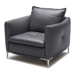 Zuri Furniture - Charcoal Grey Leather Bristol Lounge Chair - Simple yet sophisticated, Bristol is for those with an eye for sleek design. This chairs brilliant design is matched only by its unparalleled comfort. This chair ships in Black.
