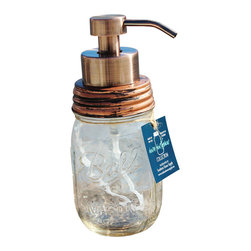 Southern Home Supply - Premium Mason Jar Foaming Soap Dispenser, Clear Jar, Antique Copper Finish - Our high quality foaming soap dispensers are beautiful and unique. You will improve the health of your family and save money with this environmentally friendly decorative dispenser.