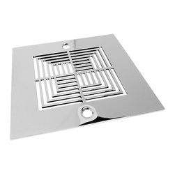 "Designer Drains - Geometric Illusions Shower Drains, Brushed Stainless Steel/Nickel - Brushed stainless steel drain made to fit Oatey drain roughs. Measures 1/16"" thick x 4 3/16"" OD x 3 3/8"" center to center of the fastening holes. Includes stainless steel fasteners. Made in U.S.A."