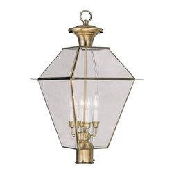 Livex Lighting - Livex Lighting Outdoor Post Light Westover, Antique Brass - Livex Lighting 2388-01 Outdoor Post Light Westover.