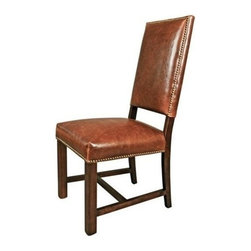 EuroLux Home - New Pair Brown Leather Dining Side Chairs - Product Details