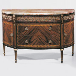 "Inviting Home - French Style Inlaid Chest - Three drawer French style chest with two curved side doors palissander veneer pear and maple inlay antiqued brass trim and pink Breccia marble top; 57-1/4""W x 20-3/4""D x 35-1/2""H hand-made in Italy Hand-crafted French style inlaid three drawer chest with two curved side doors. French style chest features palissander veneer inlaid with pear and maple wood. This French chest has antiqued brass trim and pink Breccia marble top. This inlaid chest is hand-made in Italy."