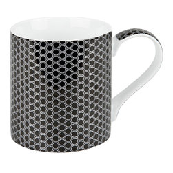 Konitz - Set of 4 High Tech Mugs - Mesh - When coffee becomes a necessity, you need a mug that can handle intense caffeine intake. The Mesh Mug has a two-tone geometric pattern that can certainly stand up to your vigorous daily routine! Relief print gives each mug the feel of a micro-chip. Taking its inspiration from gadgets, computers, and electronics, the High Tech Mug Collection features metallic patterns and textured finishes.