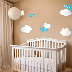 Airplanes With Clouds Decor - A solid silhouette of a modern city skyline. Add this stylish design to your living room or bedroom wall!
