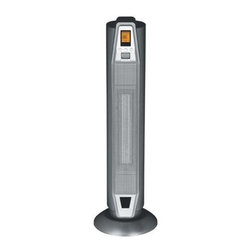 SPT Appliance - Tower Ceramic Heater w Thermostat - Doubles as a fan. Removable air filter. Digital thermostat 50 to 86 degree F with LCD display. ON and OFF timer, upto 8 hours. LCD displays ambient room temperature. Oscillation. Fan, high, low, auto heat and fan settings. Ceramic heating element. ETL. Input voltage:120 V/60 HzPower consumption:. Fan - 25 W. Low heat - 900 watts. High heat - 1500 watts. Auto - 1500 watts. Temperature setting: 50 - 86 degree F (Auto mode). Safety: Thermal cut-off and tip over safety switch. Timer: 8 hours. Overall: 9 in. Dia. x 28.5 in. H (9 lbs.)Ceramic heat offers soothing warmth and the safety of a low surface temperature. Oscillating unit provides widespread heat coverage to gradually warm your entire room. Elegant standing design will compliment any room.