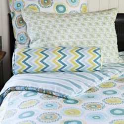 Suzani Teal Kids Bedding Collection - This set works for either a boy or a girl. Yes, the suzani print is a stylized flower, but pair it with a chevron pattern and blue and yellow, and it would be a stellar set for a twins' shared bedroom.
