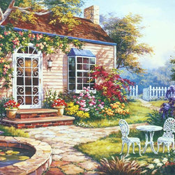 Murals Your Way - Spring Patio I Wall Art - A cottage covered in flowers is the theme of this wall mural.  A bird bath and a white picket fence add to the country charm.