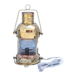 """Handcrafted Model Ships - Solid Brass Anchor Electric Lantern 14"""" - Beach Bedroom Decor - This Solid Brass Anchor Electric Lamp 15"""" is an authentic and functional ship lantern. Handcrafted from solid brass to create a realistic anchor lamp as used on historical wooden tall ships, this ship lantern is true to the original design of period lamps. Our nautical table lamp is fully functional and simply needs to be plugged into a power source to omit light. Dimensions: 7"""" Long x 6"""" Wide x 15"""" High"""
