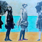 """Beach Fashion Show "" (Original) By Leslie Morgan - This Painting Is Part Of A Series Entitled Bathing Beauties. Using Rich Beautiful Colors That Only Oils Produce With Nostalgic Images Of Women'S Beach Attire From Over A Century Ago, These Mixed Media Works Reveal The Humor Of The Times While Providing The Relaxed Mood Of The Seaside. Love Those Suits!"