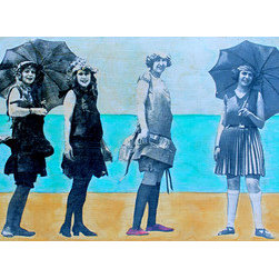 Beach Fashion Show  (Original) by Leslie Morgan - This painting is part of a series entitled Bathing Beauties. Using rich beautiful colors that only oils produce with nostalgic images of women's beach attire from over a century ago, these mixed media works reveal the humor of the times while providing the relaxed mood of the seaside. Love those suits!