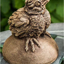 Campania International - Campania International Tweet Garden Statue - A-471-AL - Shop for Statues and Sculptures from Hayneedle.com! Instagram a picture and tweet everyone so they know just how cute the Campania International Tweet Garden Statue is. This set includes two adorable baby birds perched on stones. Each little bird is so detailed they nearly come to life with personality. These statues are handmade of weather-resistant cast stone concrete that undergoes a 15-step process to create each remarkable detail. This baby bird statue is available in several finish options and comes unsealed so it can develop an aged patina naturally. About Campania InternationalEstablished in 1984 Campania International's reputation has been built on quality original products and service. Originally selling terra cotta planters Campania soon began to research and develop the design and manufacture of cast stone garden planters and ornaments. Campania is also an importer and wholesaler of garden products including polyethylene terra cotta glazed pottery cast iron and fiberglass planters as well as classic garden structures fountains and cast resin statuary. Campania Cast Stone: The ProcessThe creation of Campania's cast stone pieces begins and ends by hand. From the creation of an original design making of a mold pouring the cast stone application of the patina to the final packing of an order the process is both technical and artistic. As many as 30 pairs of hands are involved in the creation of each Campania piece in a labor intensive 15 step process. The process begins either with the creation of an original copyrighted design by Campania's artisans or an antique original. Antique originals will often require some restoration work which is also done in-house by expert craftsmen. Campania's mold making department will then begin a multi-step process to create a production mold which will properly replicate the detail and texture of the original piece. Depending on its size and c