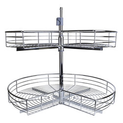 "Hardware Resources - Metal Kidney-Shaped Lazy Susan Set - 32 inch Metal chrome plated shelving. Independently rotating shelves. Sold by the set ((includes 2 shelves  mounting pole  assembly hardware  and instructions). Telescoping pole for 2 shelf systems adjusts to accommodate 24""   35.5"" interior cabinet heights."